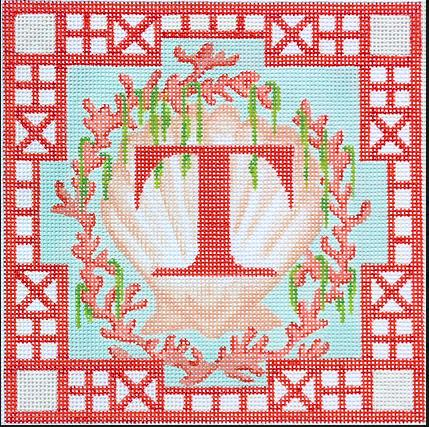 Chinoiserie Letter – Shell, Coral & Seaweed w/ Chinese Trellis