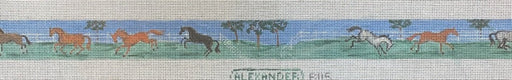 bonnie alexander needle point belt canvas Galloping horses in pasture belt - 14 horses