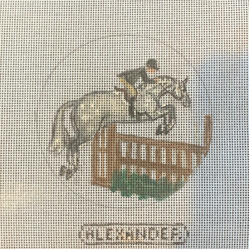 horse needlepoint canvas gray hunter jumping by bonnie alexander