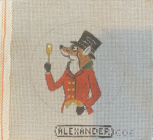 bonnie alexander needlepoint canvas fox hunting fox master with cocktail