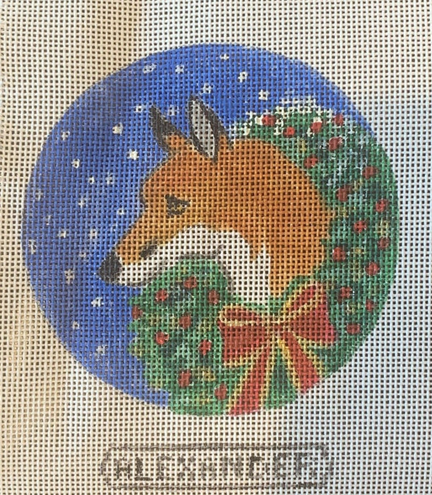 Fox With Christmas Wreath