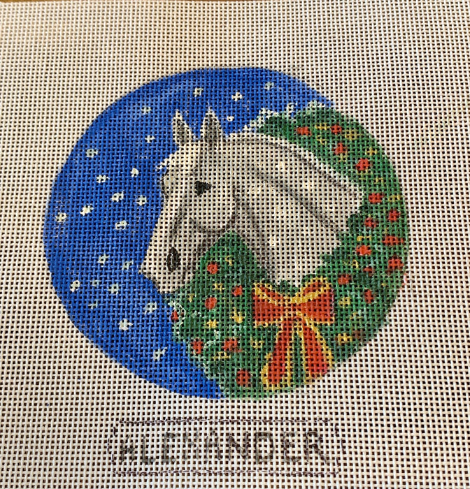 Grey horse with Christmas wreath