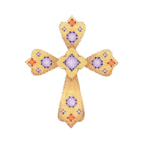 Cross - Gold with Purple & Red Jewels