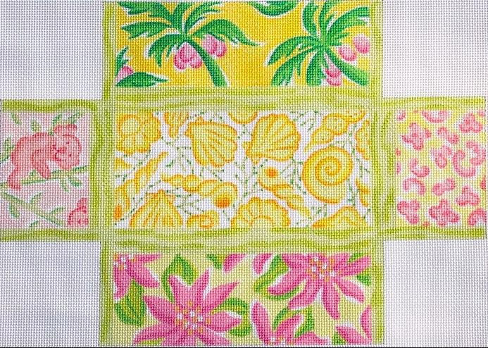 Brick – Lilly-inspired Lattice Patchwork – yellows, pinks, corals & greens