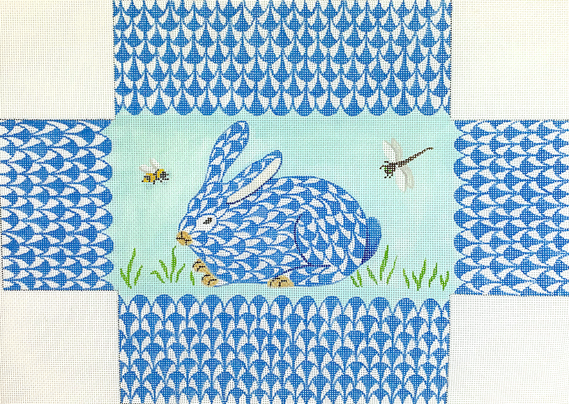 Brick – Fishnet Bunny in the Grass with Bee & Dragonfly – blues, green, tans, black & yellow