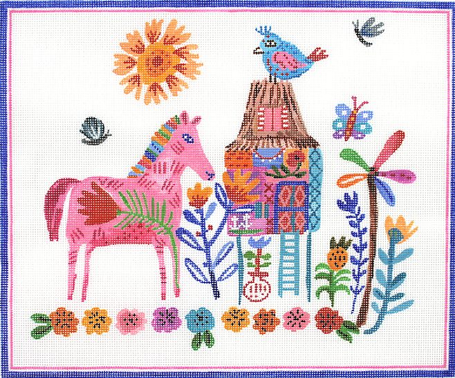 Carolyn Gavin – House on Stilts with Pink Horse – multi color
