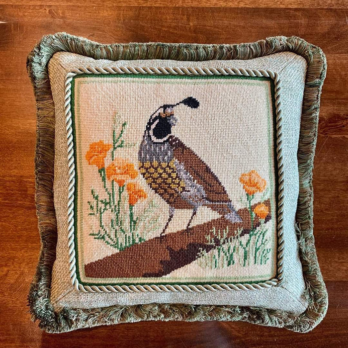 Quail Needlepoint Pillow