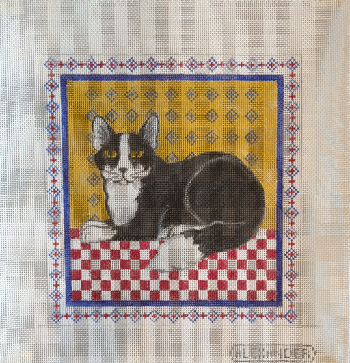 black and white cat needlepoint canvas by bonnie alexander