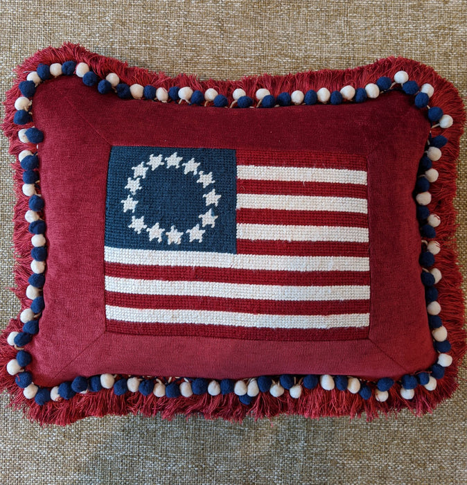 Old Glory Flag Theme Needlepoint Pillow