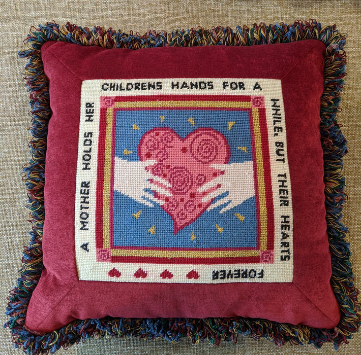 Mother Holds Her Children's Hands Quote Needlepoint Pillow