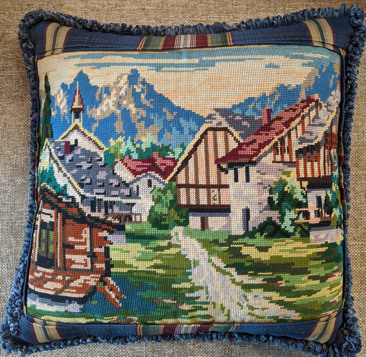 Alps Scene River Needlepoint Pillow