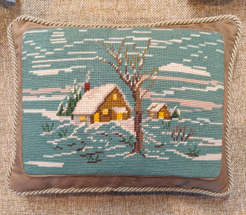 Winter Cabin Needlepoint Pillow