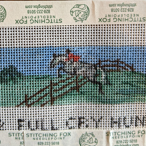 needlepoint belt canvas horse theme foxhunting by bonnie alexander