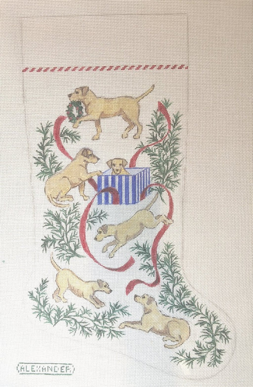 needlepoint canvas christmas stocking yellow lab dogs by bonnie alexander