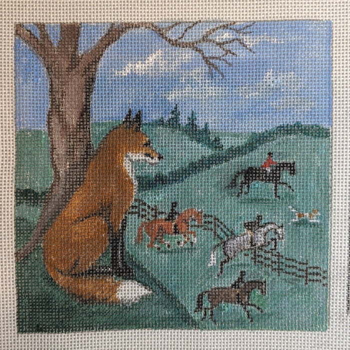 fox watching hunt needlepoint canvas by bonnie alexander