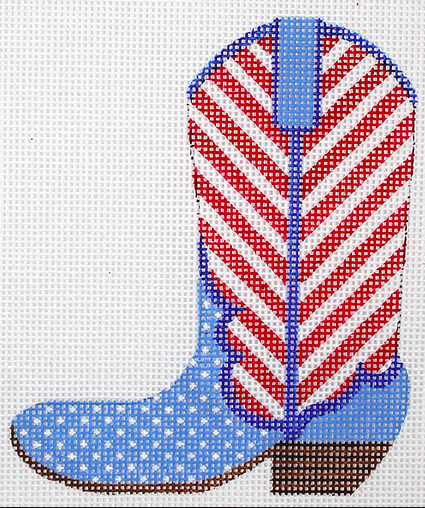 Mini Patriotic Cowgirl Boot – red stripes & blue w/ white dots