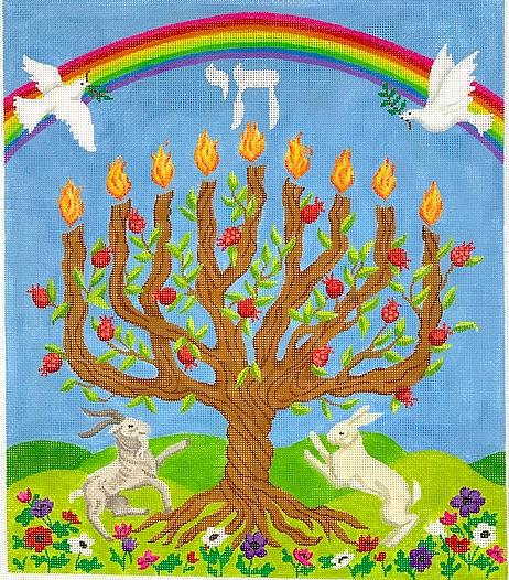 Tree of Life Menorah w/ Pomegranates, Doves, Rainbow, Flora & Fauna – multi color