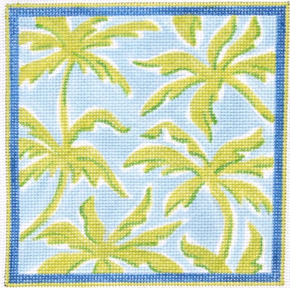 Betsy Box Insert – Lilly Letter – Palms – Greens on Light Blue w/ Marine Blue