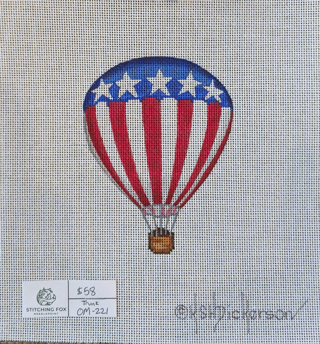 Mini Patriotic Hot Air Balloon – red & white stripes & blue w/ white stars