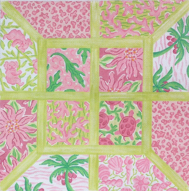 Lg. Sq.– Lilly-inspired Lattice Patchwork – pinks & greens