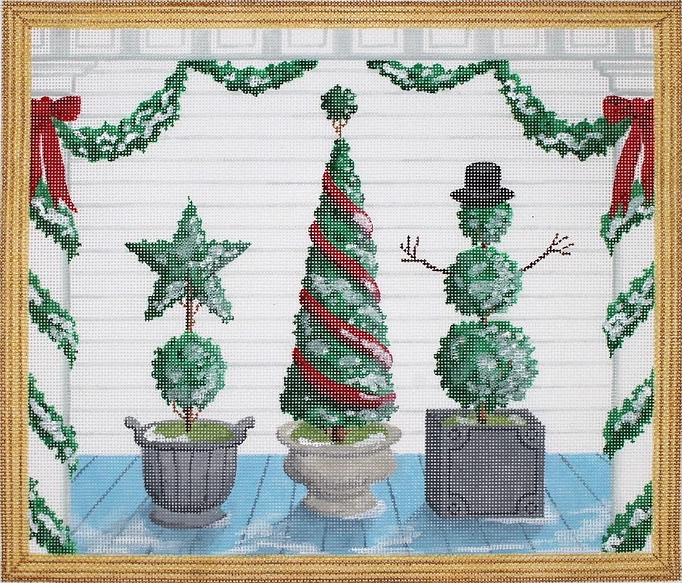 American Front Porch w/ Christmas Topiaries - Winter