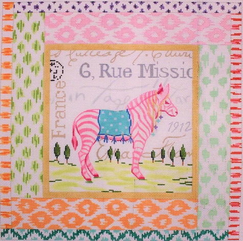 Exotic Collage – Pink Zebra w/ Mixed Ikat Border