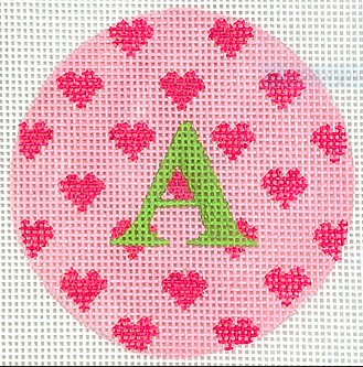Bright Disk Letter – Allover Pink Hearts on Medium Pink with Turquoise Letter