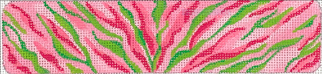 Cuff – Zebra Stripes – pinks & greens on light pinks bkgd.