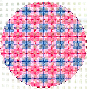 "Planet Earth & Lee 4"" Round – Madras Plaid – pinks & periwinkles"