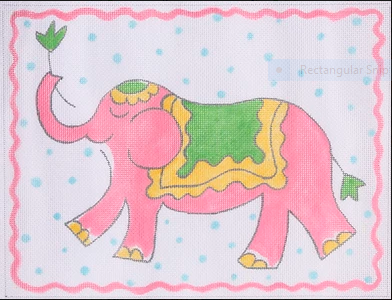 Jilly Walsh Elephant – pink, yellow & green on blue dots
