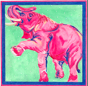 Megan Carn – Fuchsia Prancing Elephant in Light Green - pinks, blues & greens