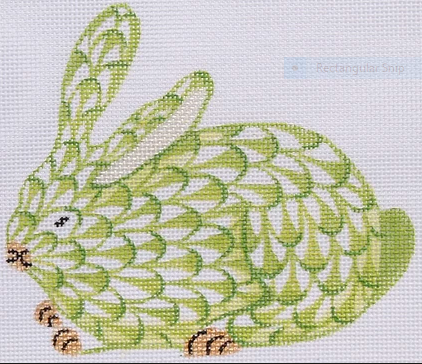Mini Herend-style Crouching Bunny – lime w/ gold
