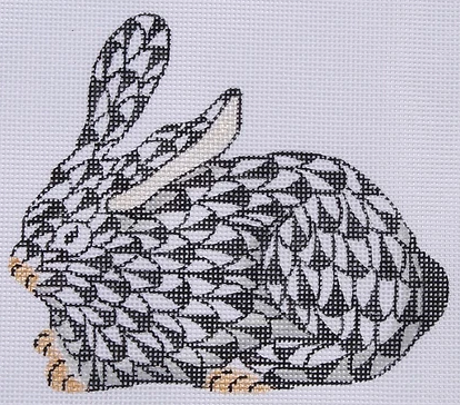 Mini Herend-style Crouching Bunny – black w/ gold