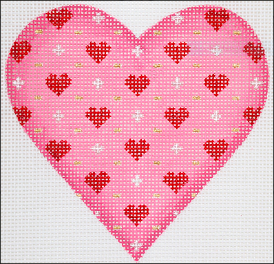 Valentine Mini Heart – Overall Petite Hearts, Pluses and Dots – pinks, red, silver & gold