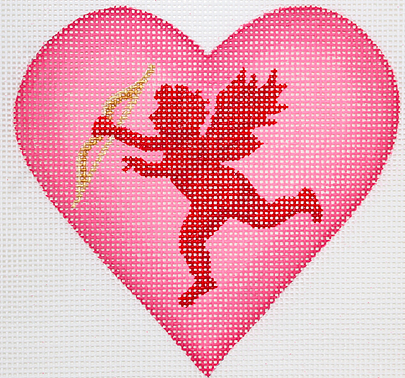 Valentine Mini Heart – Cupid With Bow & Arrow – pinks, red, & gold