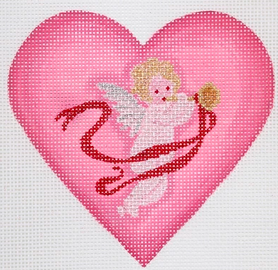 Valentine Mini Heart – Cherub With Horn & Ribbon – pinks, red, silver & gold