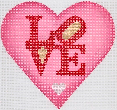 Valentine Mini Heart – Robert Indiana Style LOVE – pinks, red, silver & gold