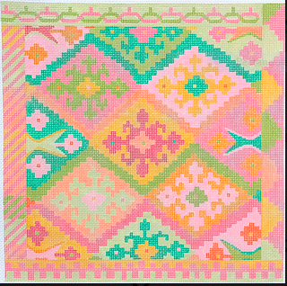 Kilim Square w/ Stepped Diamonds – summer melons palette
