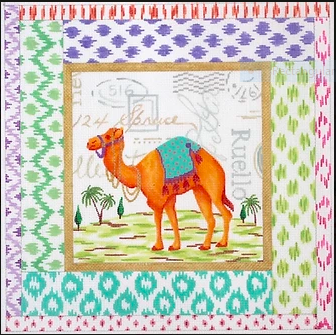 Exotic Collage – Tangerine Camel w/ Mixed Ikat Border