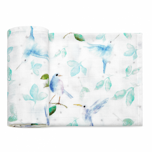 Bamboo Muslin Swaddle - heavenly birds