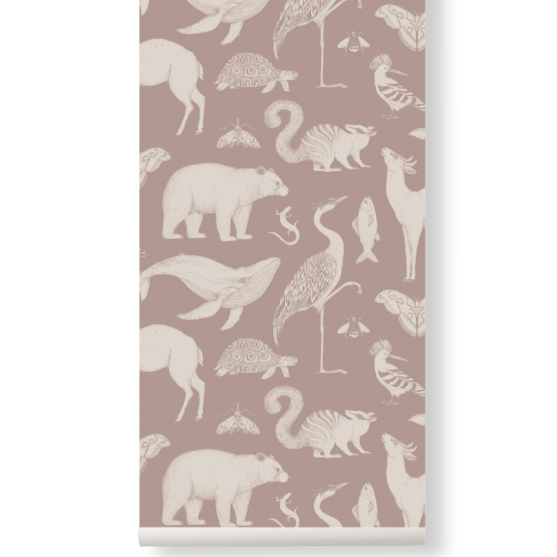 Katie Scott Wallpaper - animals dusty rose