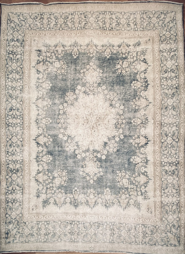 "Vintage Overdyed Tabriz - 9'8"" x 12'8"" ft."