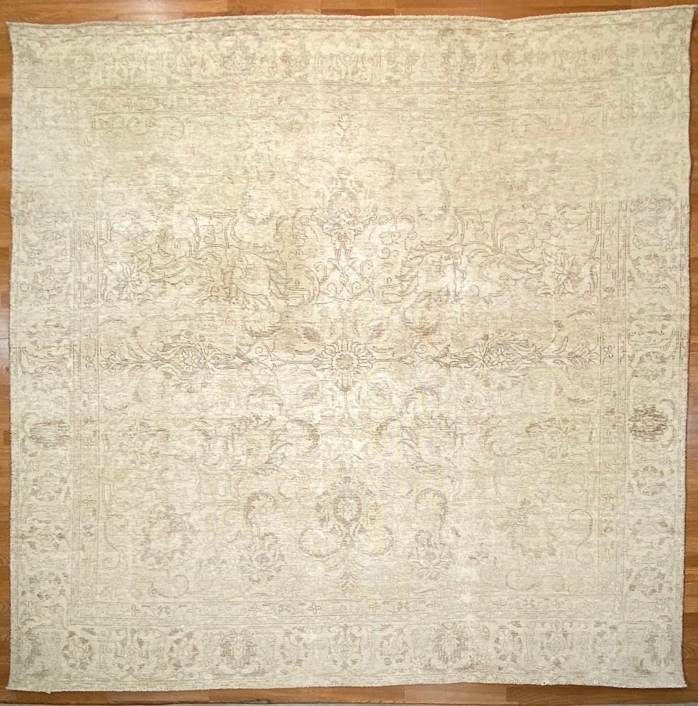 "Vintage Overdyed Tabriz - 9'1"" x 9'4"" ft."