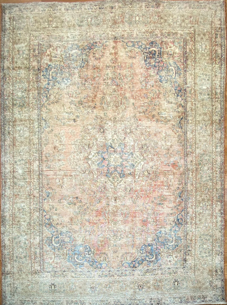 "Vintage Overdyed Tabriz - 7'9"" x 10'7"" ft."