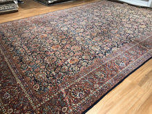 "Load image into Gallery viewer, Dashing Dabir - 1920s Antique Oriental Rug - Floral Carpet - 10'5"" x 17'1"" ft"