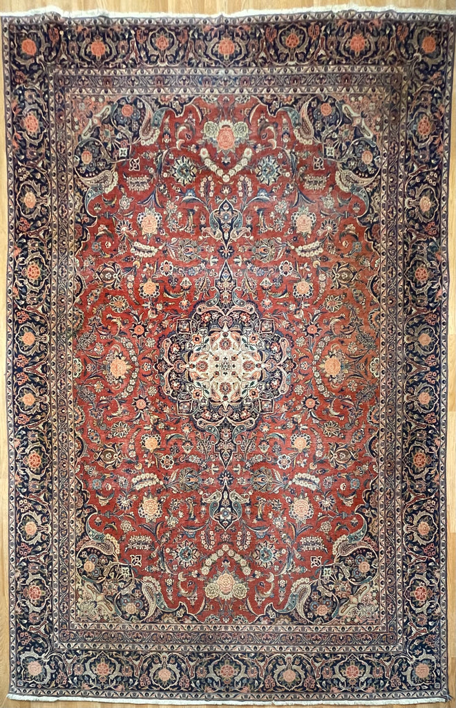"Kingly Kashan - 1920s Vintage Persian Rug - Floral Carpet - 7'10"" x 11'6"" ft."