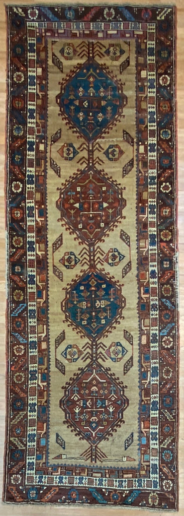 "Captivating Camel Hair - 1880s Antique Persian Runner - Tribal Rug - 3'8"" x 10'4"" ft."