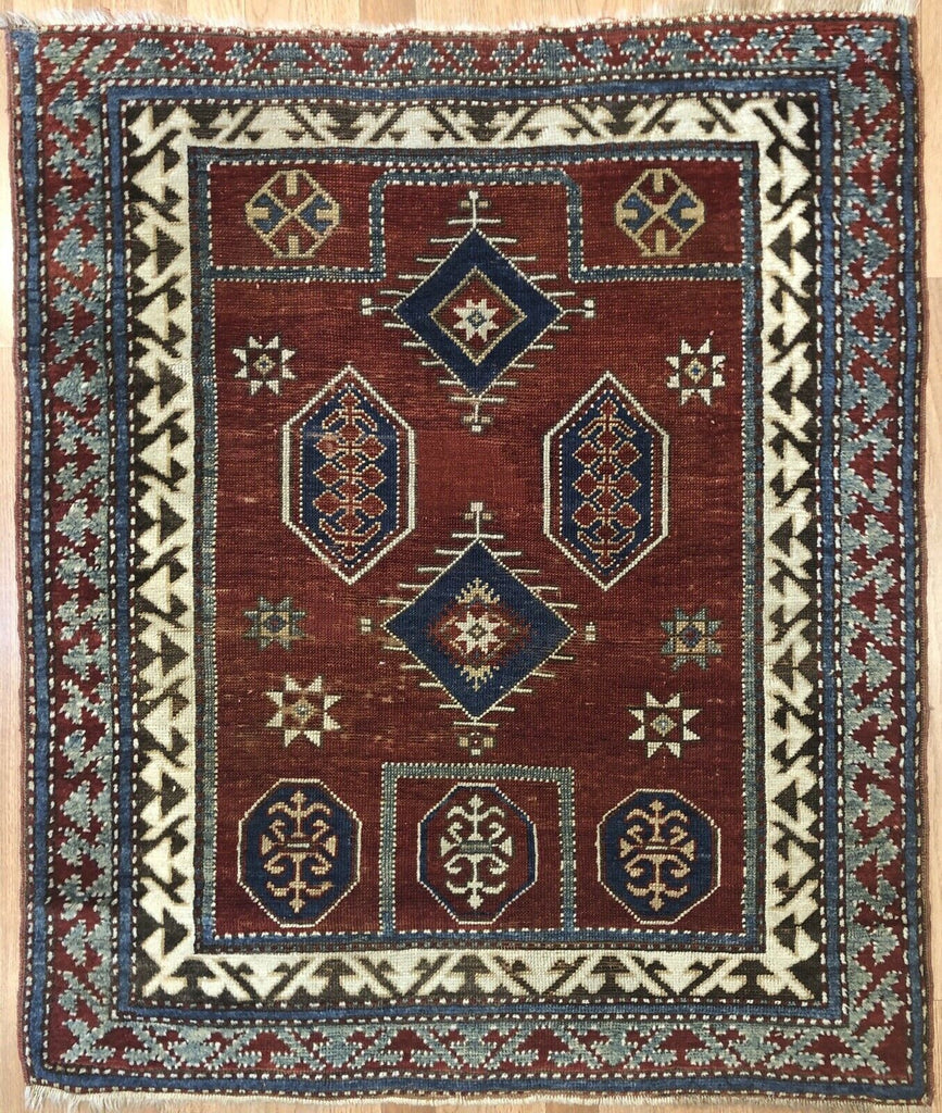 "Classic Caucasian - 1890s Antique Kazak Rug - Prayer Design - 3'6"" x 4' ft."