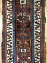"Load image into Gallery viewer, Perfect Persian - 1890s Antique Kurdish Rug - Tribal Runner - 3'8"" x 14' ft."