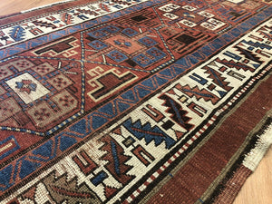 "Perfect Persian - 1890s Antique Kurdish Rug - Tribal Runner - 3'8"" x 14' ft."